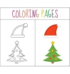 Coloring book page Christmas Santa hats and vector image