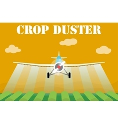 Crop duster airplane spraying a farm field vector