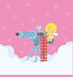 cupid aiming love machine gun vector image