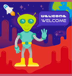 cute alien on mars vector image