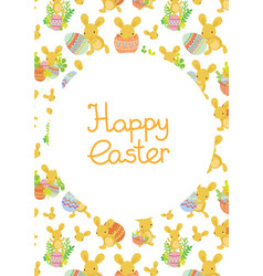 cute easter frame template of bunnies and eggs vector image