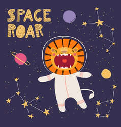 Cute lion in space vector