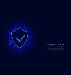 cyber security banner template shield with check vector image
