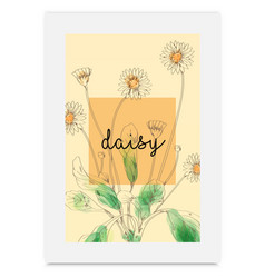 Daisy hand drawn painted watercolor vector
