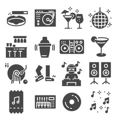 disco club or night club icons vector image