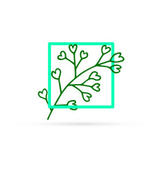 Doodle flower in frame icon isolated on white vector