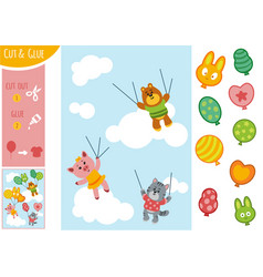 education paper game for children animals and vector image