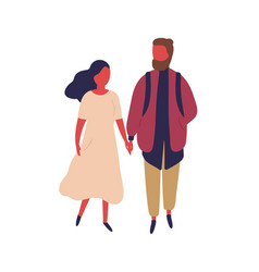 elegant cartoon woman and hipster man holding vector image