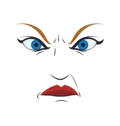 face angry woman female eyes expression icon vector image