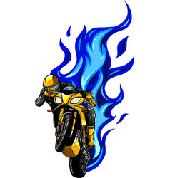 Fiery motorcycle racing with pilot vector