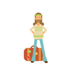 Flat cartoon bearded man hippie standing with arms vector