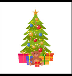 flat christmas spruce tree with presents vector image