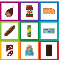 Flat icon eating set of tin tuna meat fizzy vector