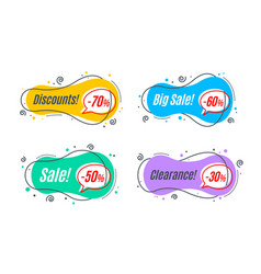 Flat linear promotion banner shapes price tag vector