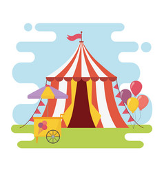 Fun fair carnival tent ice cream booth balloons vector