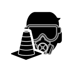 gas mask and traffic cone icon vector image