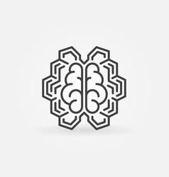 Geometric digital brain line icon ai vector