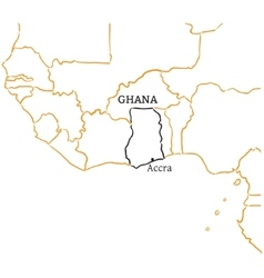 Ghana hand-drawn sketch map vector