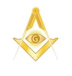 Golden masonic square and compass symbol vector