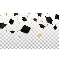 graduate caps and confetti on a transparent vector image