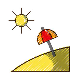grated island with sun weather and umbrella open vector image