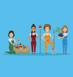 Group people planting and recycle vector