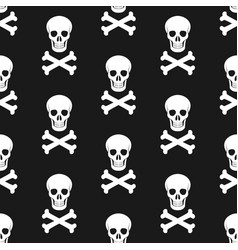 halloween pattern skull and bones vector image