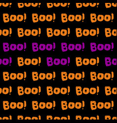 Halloween tile pattern with orange and violet boo vector
