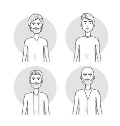 Hand drawn set men face with hairstyle vector