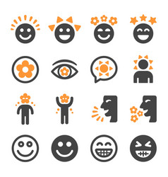 happy icon set vector image