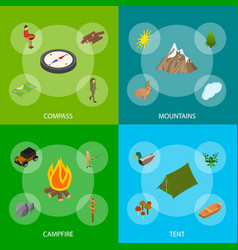 hiking in a park concept banner set 3d isometric vector image