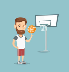hipster basketball player spinning a ball vector image
