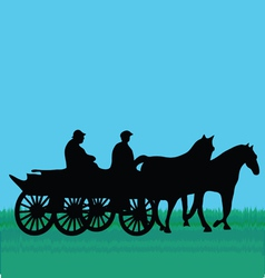 Horse car with people vector