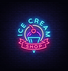 Ice cream shop neon sign ice cream shop logo in vector