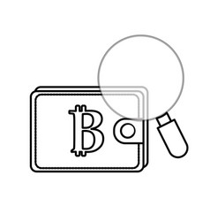 Line bitcoin symbon in the wallet with magnifying vector