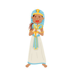 Man in a traditional long pharaoh costume vector