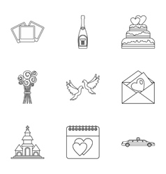 Marriage icons set outline style vector