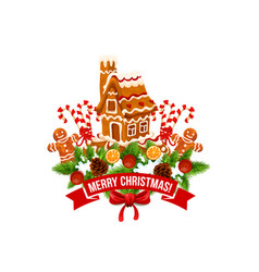 Merry christmas ginger cookie house vector