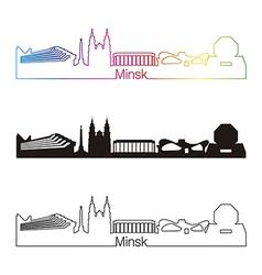 Minsk skyline linear style with rainbow vector