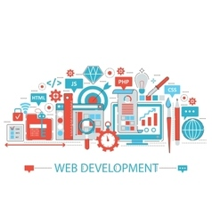 Modern Flat thin Line design Web development vector