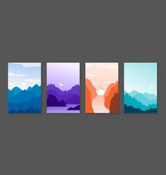 Mountains posters rocky mountains and snowy peaks vector