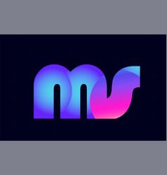 ms m s spink blue gradient alphabet letter vector image