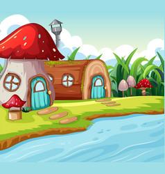 Mushroom and wood house vector