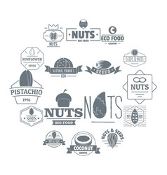 nuts seeds logo icons set simple style vector image