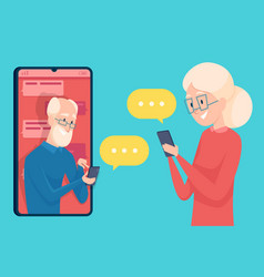 old person messaging smartphone dialog dating of vector image
