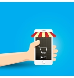 Online mobile shopping concept background vector image