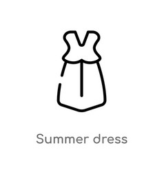 outline summer dress icon isolated black simple vector image