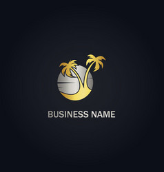 Palm tree sunset beach logo vector