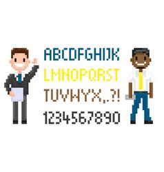 pixel game men character superhero male vector image