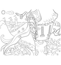 Princess rapunzel in the stone tower coloring for vector